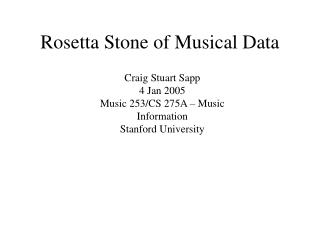 Rosetta Stone of Musical Data