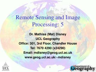 Remote Sensing and Image Processing:  5