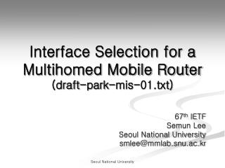 Interface Selection for a Multihomed Mobile Router (draft-park-mis-01.txt)