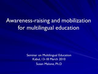 Awareness-raising and mobilization for multilingual education