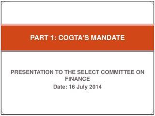 PART 1: COGTA'S MANDATE