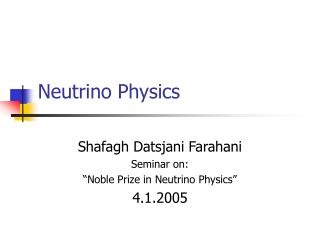 Neutrino Physics
