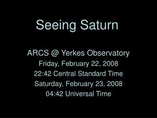 Seeing Saturn