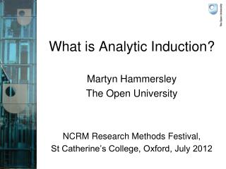 What is Analytic Induction?