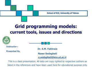 Grid programming models: current tools, issues and directions