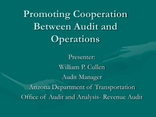Promoting Cooperation Between Audit and Operations