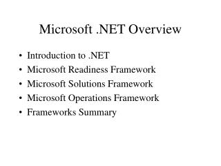 Microsoft .NET Overview