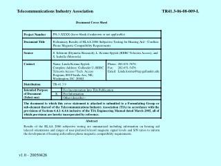 Telecommunications Industry AssociationTR41.3-06-08-009-L