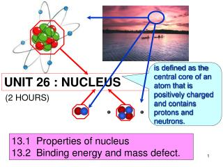 13.1  Properties of nucleus 13.2  Binding energy and mass defect.