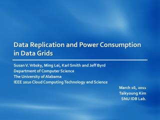 Data Replication and Power Consumption in Data Grids