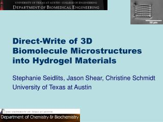 Direct-Write of 3D  Biomolecule Microstructures  into Hydrogel Materials