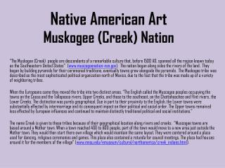 Native American Art Muskogee (Creek) Nation