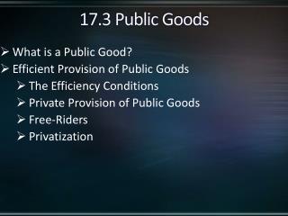 17.3 Public Goods