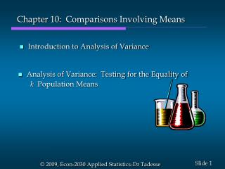 Chapter  10:   Comparisons Involving Means