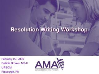 Resolution Writing Workshop