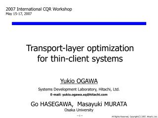 Transport-layer optimization for thin-client systems