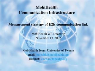 MobiHealth  Communication Infrastructure