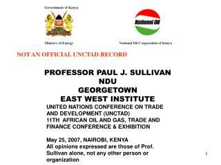 PROFESSOR PAUL J. SULLIVAN NDU GEORGETOWN EAST WEST INSTITUTE