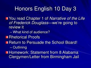 Honors English 10 Day 3