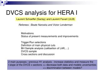 DVCS analysis for HERA I