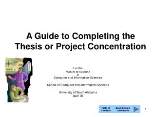 A Guide to Completing the Thesis or Project Concentration