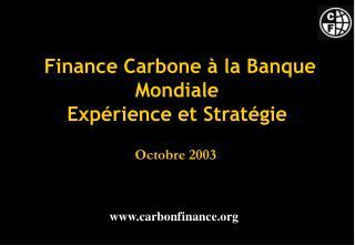 Finance Carbone à la Banque Mondiale Expérience et Stratégie