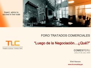"""FORO TRATADOS COMERCIALES """"Luego de la Negociación…¿Qué?"""" COMEX PERU Lima, 21 de Julio, 2009"""