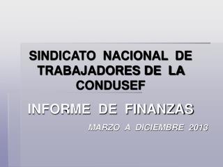 SINDICATO  NACIONAL  DE  TRABAJADORES DE  LA  CONDUSEF INFORME  DE  FINANZAS