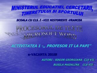 MINISTERUL EDUCATIEI, CERCETARII, TINERETULUI SI SPORTULUI