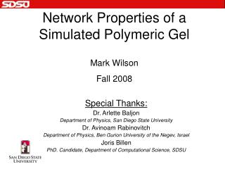 Network Properties of a Simulated Polymeric Gel