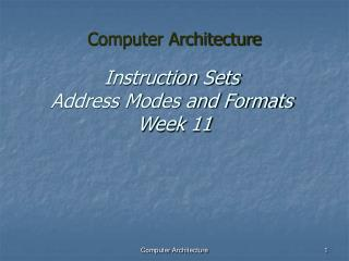 Instruction Sets Address Modes and Formats  Week 11