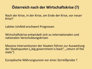 Österreich nach der Wirtschaftskrise (?)