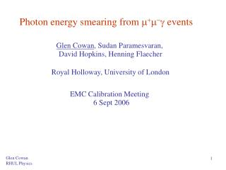Photon energy smearing from        events