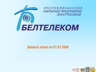 Balance sheet on  01.01.2006