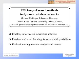 Challenges for search in wireless networks