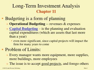 Long-Term Investment Analysis Chapter 11