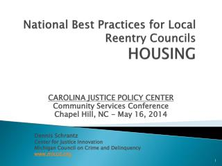 National Best Practices for Local Reentry Councils   HOUSING