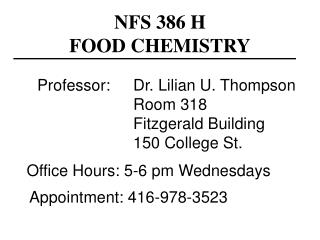 NFS 386 H  FOOD CHEMISTRY