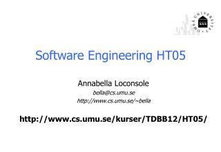 Software Engineering  HT05