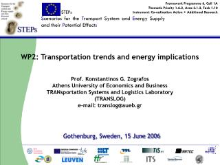 WP2: Transportation trends and energy implications