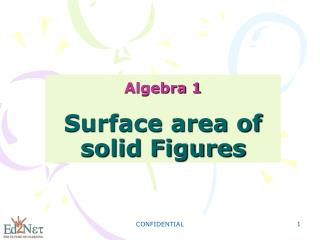 Algebra 1 Surface area of solid Figures