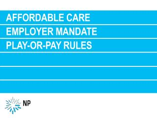 Affordable care employer mandate Play-or-Pay  Rules