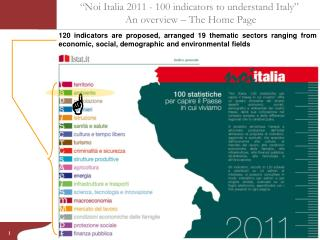 """""""Noi Italia 2011 - 100 indicators to understand Italy""""  An overview – The Home Page"""