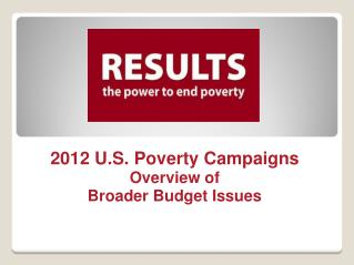 2012 U.S. Poverty Campaigns Overview of  Broader Budget Issues