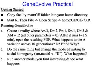 Getting Started Copy faculty:matt/GE folder into your home directory