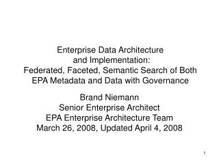 Brand Niemann Senior Enterprise Architect EPA Enterprise Architecture Team