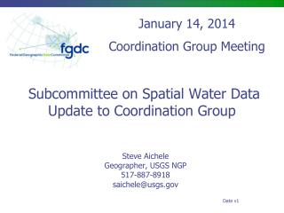 Subcommittee on Spatial Water Data Update to Coordination Group