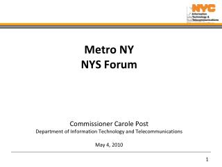 Metro NY NYS Forum Commissioner Carole Post