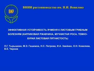 ВНИИ растениеводства им. Н.И. Вавилова