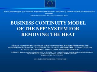 BUSINESS CONTINUITY MODEL OF THE NPP '  SYSTEM FOR REMOVING THE HEAT